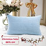 Decorative Pillow Cover - Home Brilliant Decorative Striped Corduroy Rectangle Cushion Cover Oblong Pillow Cover for Couch, 12