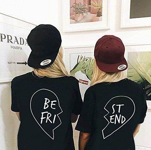 Shirt Heart T Amici BFF per 100 Nero Friend Manica Best Cotone Shirt Coppia Nero Donna Migliori Maglietta Estate Corta Medio xwzX7E57n