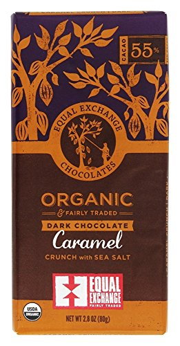 Equal Exchange - Organic & Fairly Traded Dark Chocolate Bar Caramel Crunch with Sea Salt 55% Cacao - 2.8 - Equal 80 Exchange