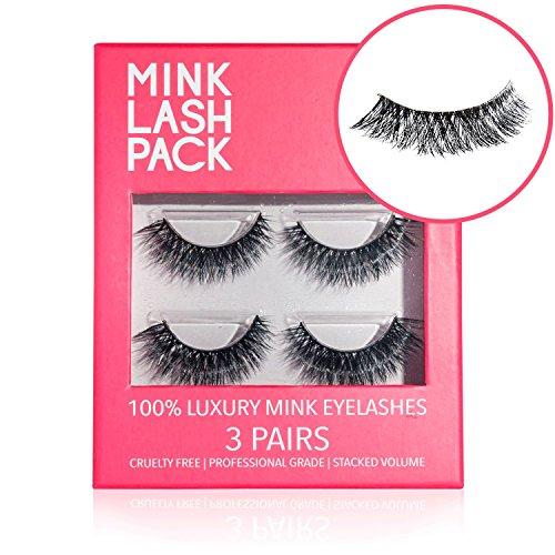 Mink Eyelashes - Best False Eyelashes - Premium Fake Eyelashes - Reusable Velour Lashes - Perfect for Deep Set Eyes & Round Eyes - 3D Lashes Similar to Ardell Lashes - 3 Pairs - Lasts for 3 Months