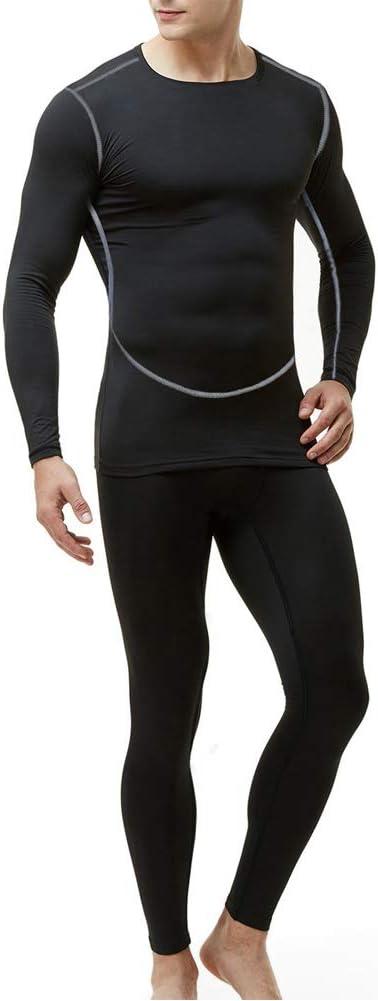 Maglia e Pantaloni Termici Sport Calcio Corsa Abbigliamento Intimo Termico Uomo Sci con Funzione Palestra Ciclismo Running MeetHoo Set Biancheria Intima Termica per Uomo
