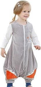JooNeng Baby Unisex Fleece Sleeveless Sleep Bag with Feet Kids Cartoon Onesie Pajamas Wearable Blankets (M/3-5 Years, Grey)