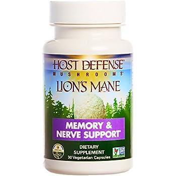 Host Defense - Lion's Mane Capsules, Mushroom Support for Memory & Nerves, 30 Count