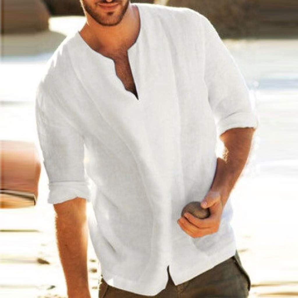 Camisa para Hombre Lino Blusa Casual de Manga Top Sin Cuello de Color Sólido Blusas Suelta Camisas de Trabajo Suave Cómodo Transpirable S-5XL: Amazon.es: Ropa y accesorios