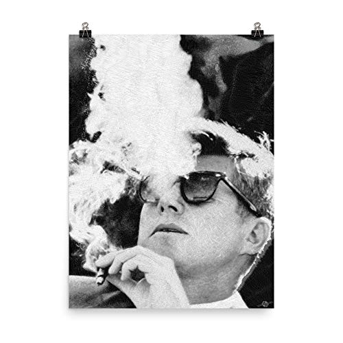 John F Kennedy Cigar and Sunglasses Black and White Enhanced Matte Paper Poster ()