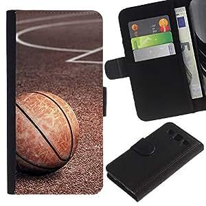 Protector de cuero de la PU de la cubierta del estilo de la carpeta del tirón BY RAYDREAMMM - Samsung Galaxy S3 III I9300 - Textura del baloncesto de la vendimia