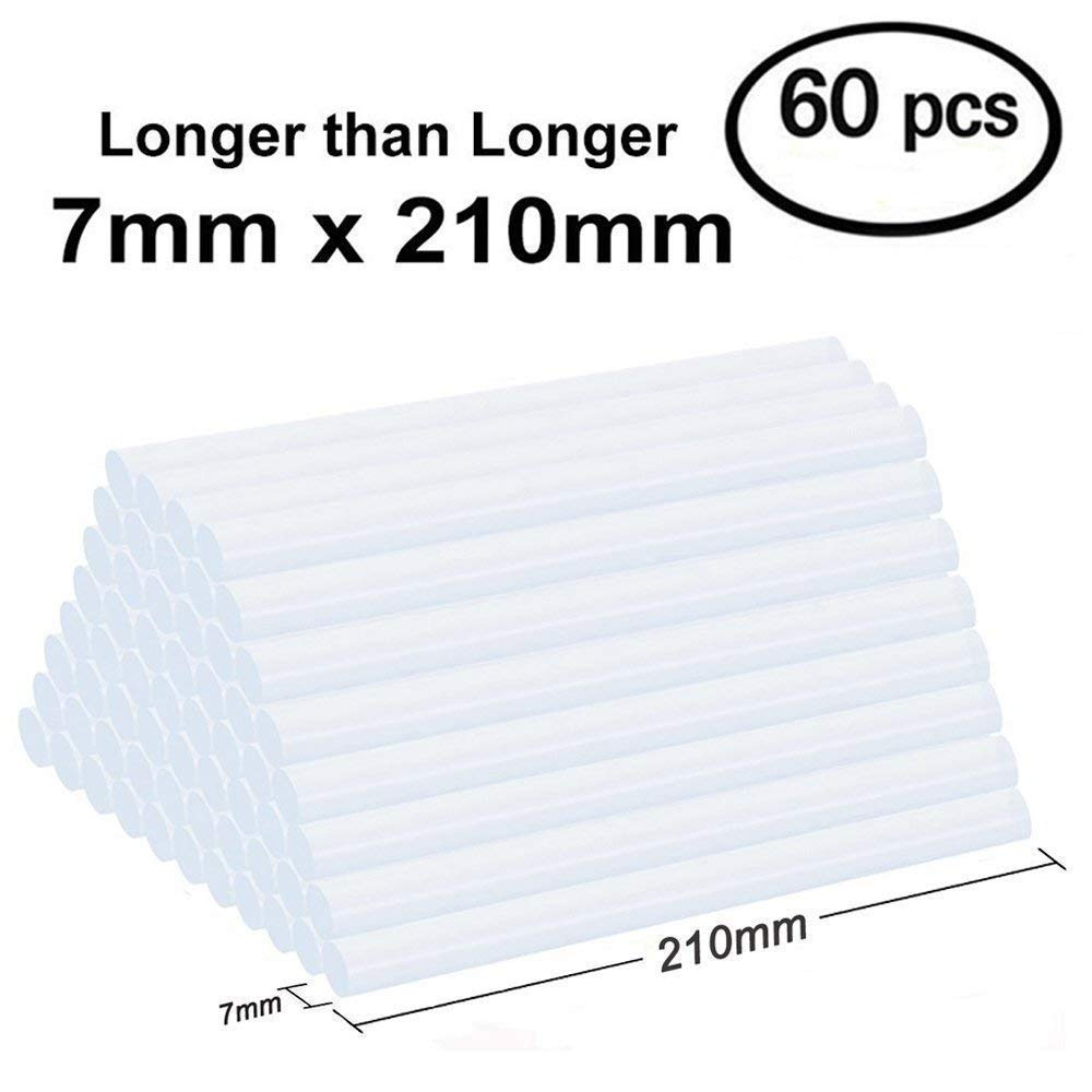 Lnkey 60 Pcs bâtons de colle (7 x 210 mm) pour pistolet à colle, extra long colle thermofusible transparent (bâtons de colle) extra long colle thermofusible transparent (bâtons de colle) Lnkey Shop