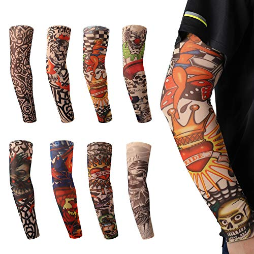 8 PCS Tattoo Arm Sleeves for Men/Women/Teens Body Art Sunscreen Arm Stockings Stretchable Cosplay Halloween Accessories with Special Design Skulls Tiger Clown Tribal Beloved Heart Angel