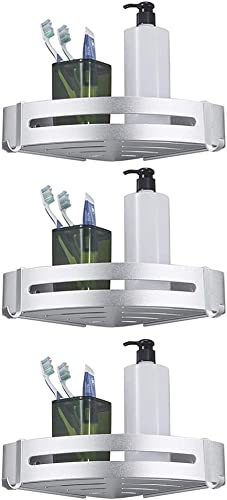 BESy Shower Corner Caddy Bathroom Shower Corner Shelf with Two Hooks, Self Adhesive with Glue or Wall Mount with Screws,Heavy Duty Aluminum 3 Tier Storage Shelves Triangle Baskets,Dull Polished Silver