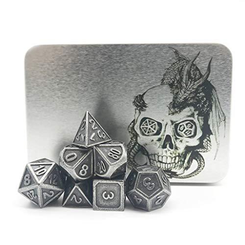 Ridge Gathering Table Set - Truewon Metal Dice Set of 7 with Metal Case (Ridge Rustey Silver Color)