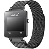 Garmin vívoactive replacement band,Oitom Milanese loop Stainless Steel Bracelet Strap for GARMIN VIVOACTIVE Smart Fitness Watch, Black, White, Large with unique Magnet lock
