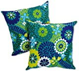 Blazing Needles Indoor/Outdoor Spun Poly 20-Inch by 20-Inch by 6-Inch Throw Pillow, Luxury Azure, Set of 2
