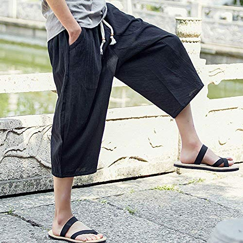D'été Hommes Noir Harem Confortable Tailles 4 Hx Pantalon Casual 3 En Lâche Vêtements Mode Lin Plage wznqR
