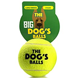 The Big Dog\'s Balls, 3 Large Yellow Tennis Balls, Premium, Strong Dog Toy Ball for Dog Fetch & Play. Large Dogs Balls, Too Big for Chuckit Launchers, the King Kong of Dog Balls