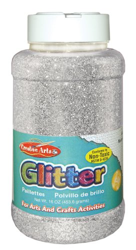 Creative Arts by Charles Leonard Glitter, 16 Ounce Bottle, Silver - Crafts Glitter And Arts