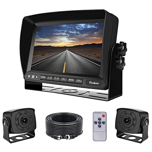Dual Backup Cameras and Monitor Kit Wired for Van, RV, Semi Truck, 2 Upgraded 175º Wide View Infrared Waterproof Rear View Cams with 7 Inch Adjustable Display (Camera Wired Kit)