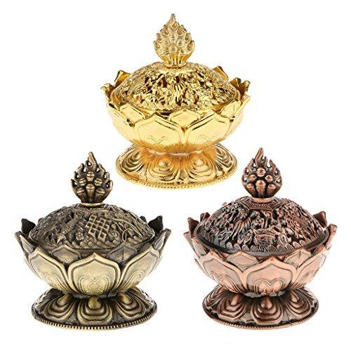 Nabati, bruciatore incenso, a forma di loto, per conetti, con supporto, decorativo, colore bronzo