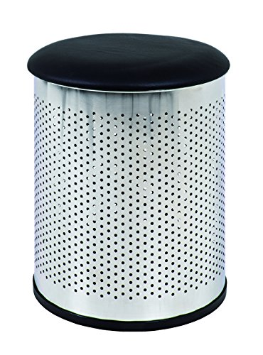 HAKU Möbel 33096 Wäschesammler, 48 cm, Durchmesser 35 cm, chrom / schwarz