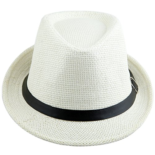 Classic Straw Cap (Samtree Unisex Braid Straw Fedora Hat,Classic Short Brim Belt Panama Cap(White))