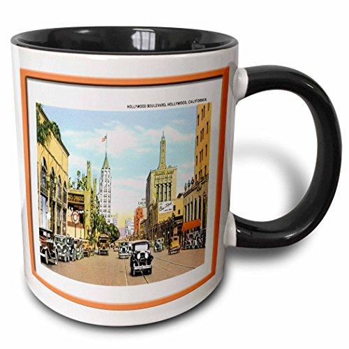(3dRose BLN Vintage US Cities and States Postcards - Hollywood Boulevard, Hollywood California with Antique Cars - 15oz Two-Tone Black Mug (mug_160727_9) )