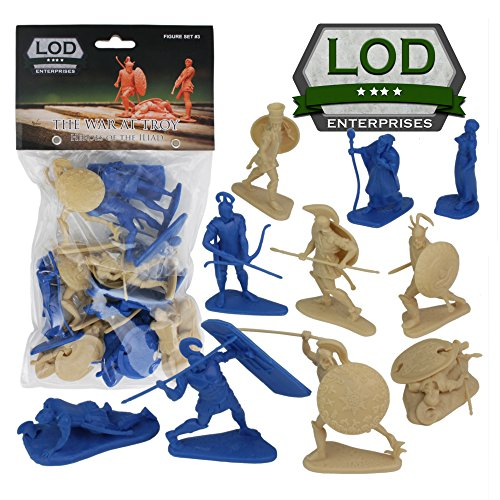 Figure War Plastic (LOD TROJAN WAR 12 Plastic Hero Figures - Helen of Troy Paris Achilles Odysseus)