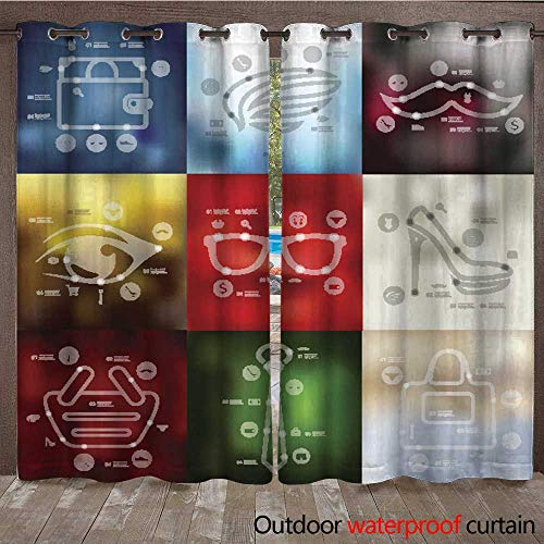 RenteriaDecor Outdoor Ultraviolet Protective Curtains Fashion Timeline infographics with Blurred Background W72 x -