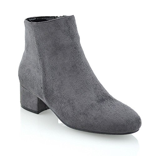 Faux Pixie New Ladies Shoes Grey Ankle Smart Zip Shorty Womens Flat Suede Heel Chelsea Boots 0xxOrwpqT4