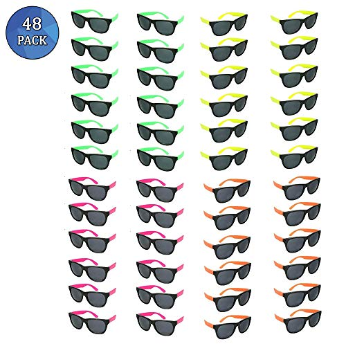 Totem World 48 Plastic Neon Party Sunglasses - Colorful 80s Shades with Hinges and Scratch-Free Lenses - Perfect as Party Favors or Retro Fashion Accessories - Variety of -