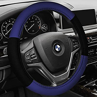 FH Group FH2033BLUE Steering Wheel Cover (Modernistic and Seat Belt Pads Combo Set Blue): Automotive