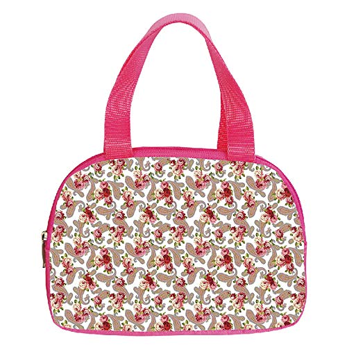 Ellington Vintage Tote - Polychromatic Optional Small Handbag Pink,Kitchen Decor,Paisley Pattern and Roses Vintage Country Home Design Decorative Floral Style,Pink Red Purple White,for Girls,Print Design.6.3