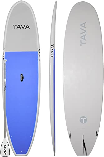 Tava 11 2 Blue Stand Up Paddle Boards Alloy Adjustable Paddle Features A Durable Epoxy Construction and All Around Stable Shape for Flatwater Small Surf Full Deck Traction Lets you Carry Extra Passengers Easily