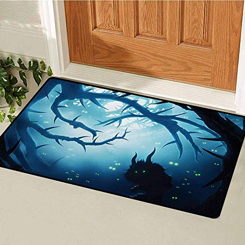 GUUVOR Mystic Front Door mat Carpet Animal with Burning Eyes in The Dark Forest at Night Horror Halloween Illustration Machine Washable Door mat W29.5 x L39.4 Inch Navy White ()