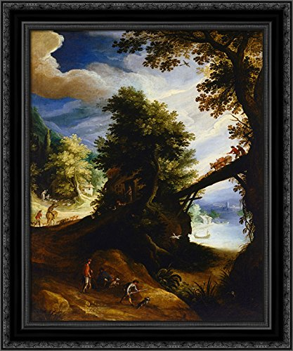 A wooded Landscape with a Bridge and Sportsmen at The Edge of The River 24x20 Black Ornate Wood Framed Canvas Art by Paul Bril