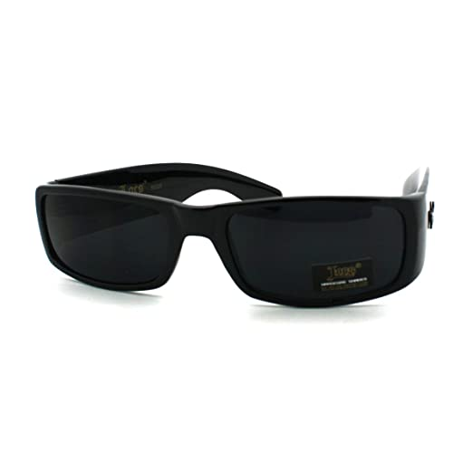 29f38d84bba61 Amazon.com  Black Locs Sunglasses Men s Rectangular Super Dark Lens ...