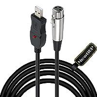 Cable de micrófono USB, cable de convertidor NewBEP 3 pines USB macho a XLR hembra Micrófono de enlace Cable de audio de estudio Adaptador de cables para micrófonos o grabación Karaoke Sing, 3M (cable de micrófono USB)