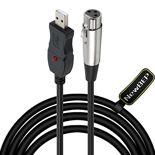 USB Microphone Cable, NewBEP 3 Pin USB Male to XLR Female Mic Link Converter Cable Studio Audio Cable Connector Cords Adapter for Microphones or Recording Karaoke Sing,3M(USB Microphone Cable) by NewBEP