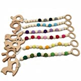 Amyster 6pcs Baby Teething Toy Wooden Rings Animal Teether Eco-friendly Teething Crochet Beads Chewable Infant Holder Wooden Teether (6pcs)