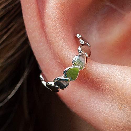 (Silver Heart Earring, 925 Chain Of Hearts Ear Cuff, No Piercing)