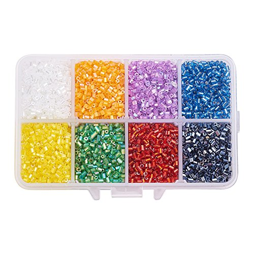(PandaHall Elite About 14400 Pcs 11/0 Transparent Glass Bugle Seed Beads 8 Colors Tube Space Bead Diameter 2.2mm for Jewelry Making)