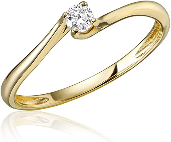 10k or 14k Yellow Gold with Diamond Petite Stylish Wave Band Baby Girls Ring