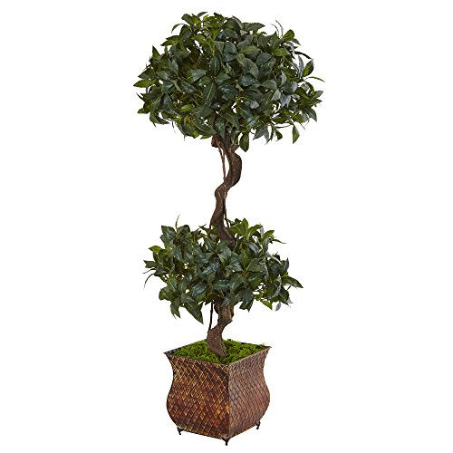 - Nearly Natural 4.5' Sweet Bay Double Topiary Artificial Tree, Green