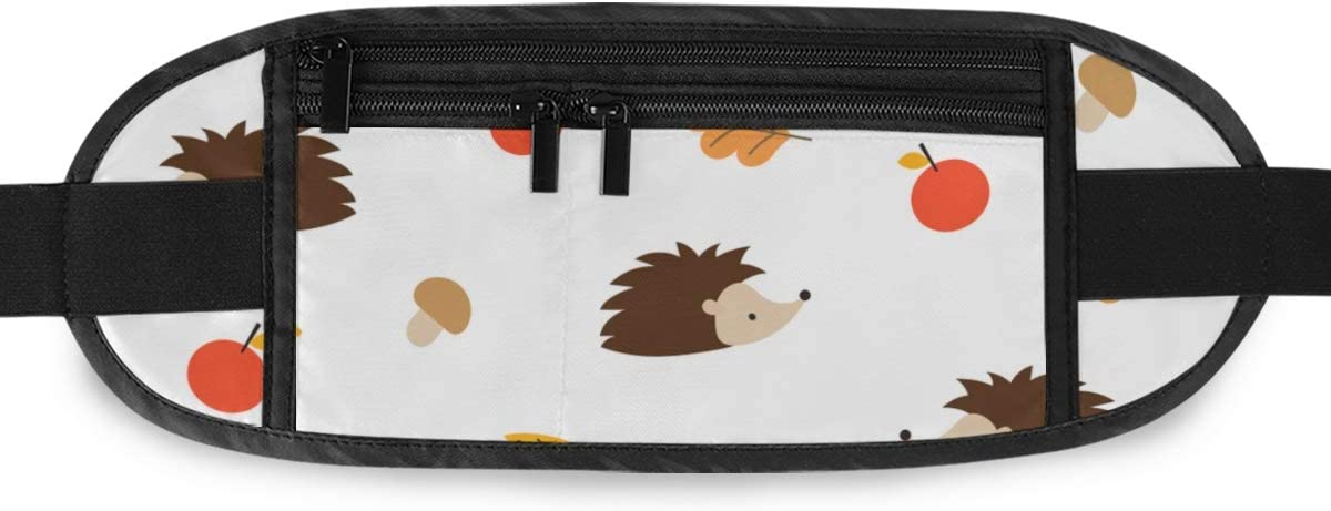 Pattern Hedgehog s Mushrooms Running Lumbar Pack For Travel Outdoor Sports Walking Travel Waist Pack,travel Pocket With Adjustable Belt