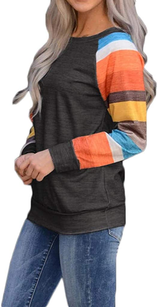 Womens Long Sleeve Patchwork Loose Tops Tunic Casual Round Neck Shirts Blouse