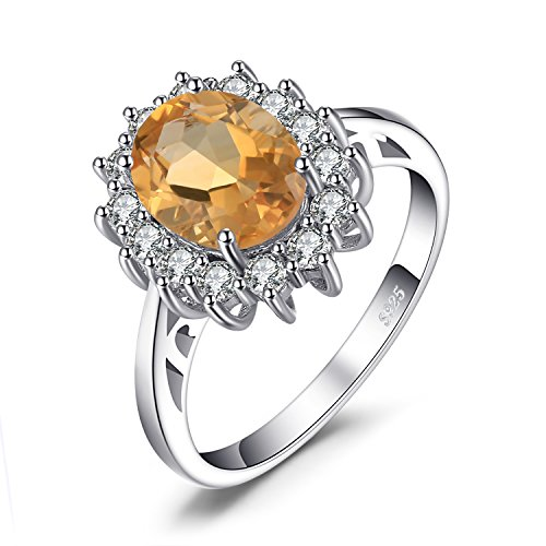 JewelryPalace Natural Gemstones Citrine Birthstone Halo Solitaire Engagement Rings For Women For Girls 925 Sterling Silver Ring Princess Diana William Kate Middleton Size 7