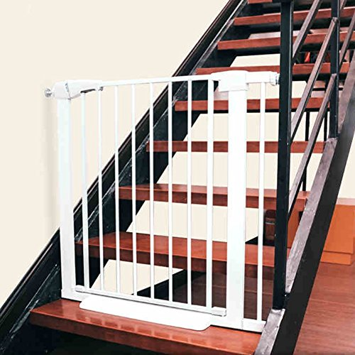 Extra Wide Baby Gate With Pet Door Attach To Banister Stair Doorways Banister Wall Protector 63-157CM Wide Whtie Metal (Size : 120-127cm)