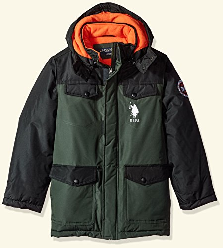 Kids Coats Jackets (U.S. Polo Assn. Big Boys' Outerwear Jacket (More Styles Available), Parka Jacket Olive, 10/12)