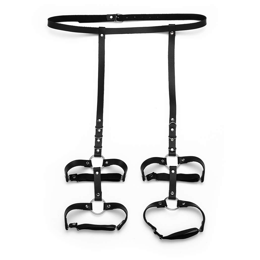 Gemily Punk Belt Leg Harness Black Leather Body Accessories Garter Jewelry for Women and Girls