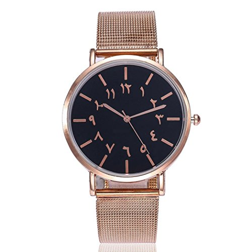 Redvive Casual Quartz Stainless Steel Band Newv Strap Watch Arabic Numbers Watch