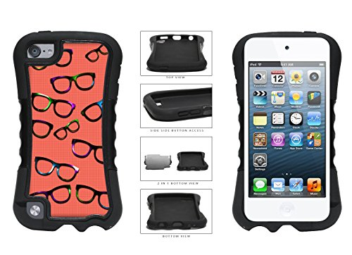 Hipster Glasses Colorful Spectacles Red Plaid Background 2-Piece Dual Layer Phone Case Back Cover For Apple iPod Touch 5th Generation comes with Security Tag and MyPhone Designs(TM) Cleaning - Sunglasses Security Tag