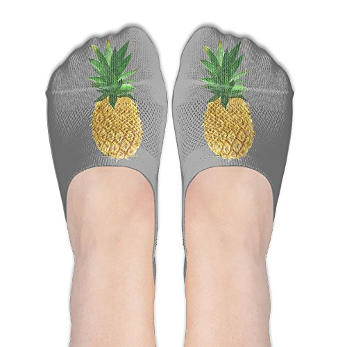 Gold Pineapple Women's Thin Casual No Show Socks Non Slip Flat Boat Line
